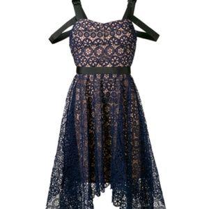 Self-Portrait asym circle floral lace midi dress